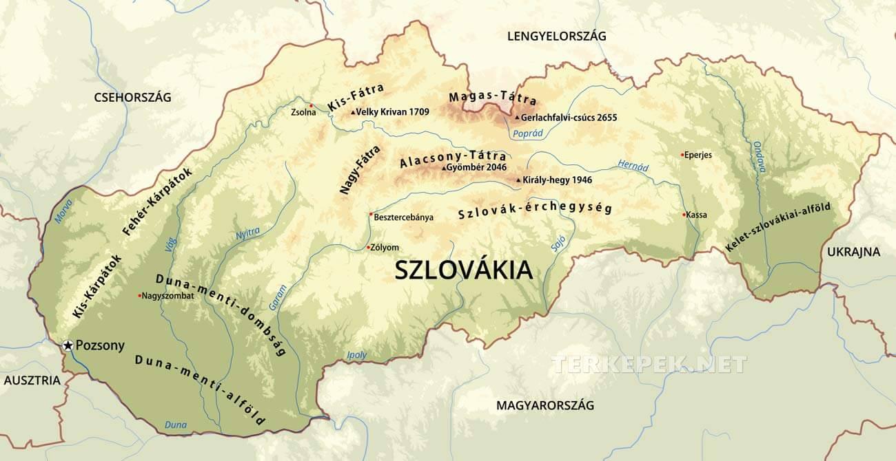térkép szlovákia magyarország Szlovákia térképek térkép szlovákia magyarország